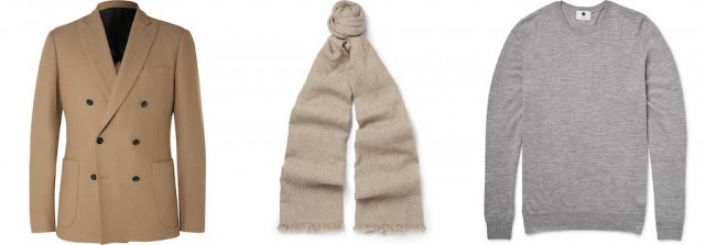 Hardy Amies double-breasted blazer, Begg & Co. scarf, NN07 sweater