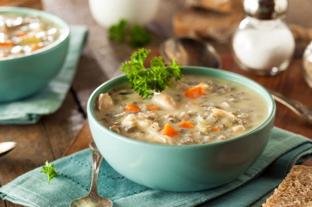 Chicken Soup and wild rice in a bowl