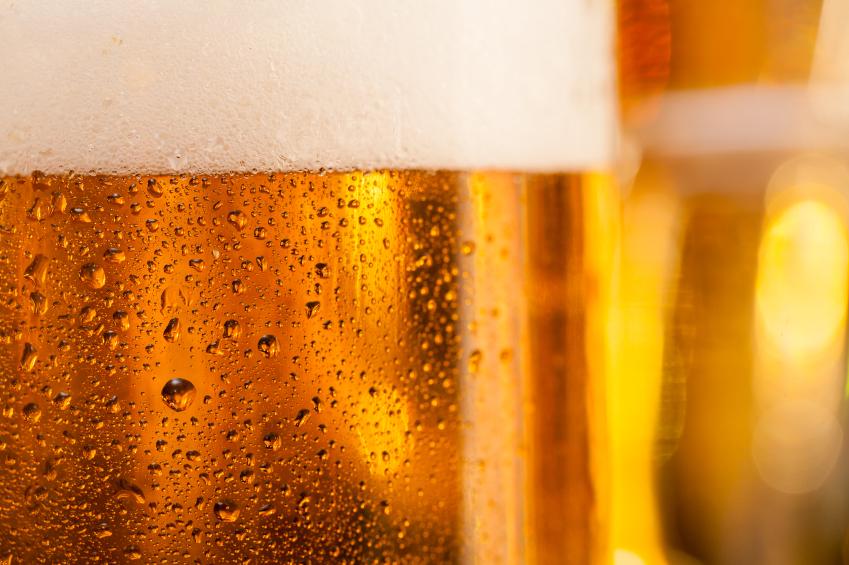 close shot of a lighter beer