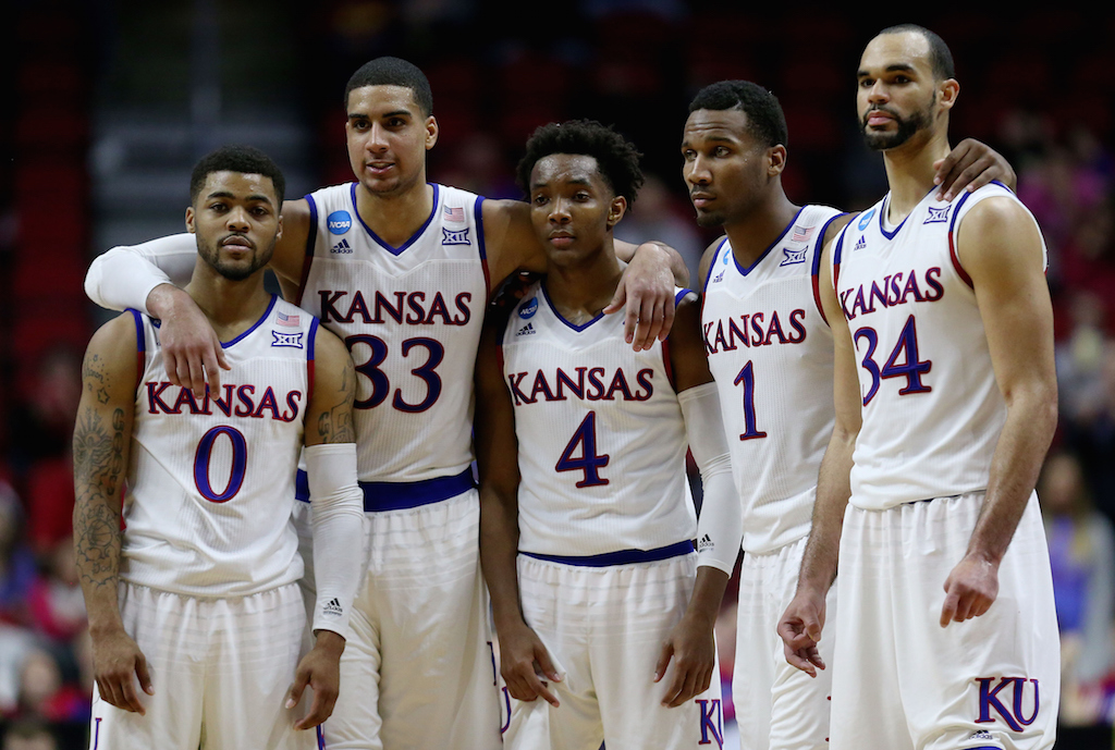 DES MOINES, IA - MARCH 19:  The Kansas Jayhawks react after defeating the Connecticut Huskies 73 to 61 during the second round of the 2016 NCAA Men's Basketball Tournament at Wells Fargo Arena on March 19, 2016 in Des Moines, Iowa.  (Photo by Jonathan Daniel/Getty Images)Jonathan Daniel/Getty Images