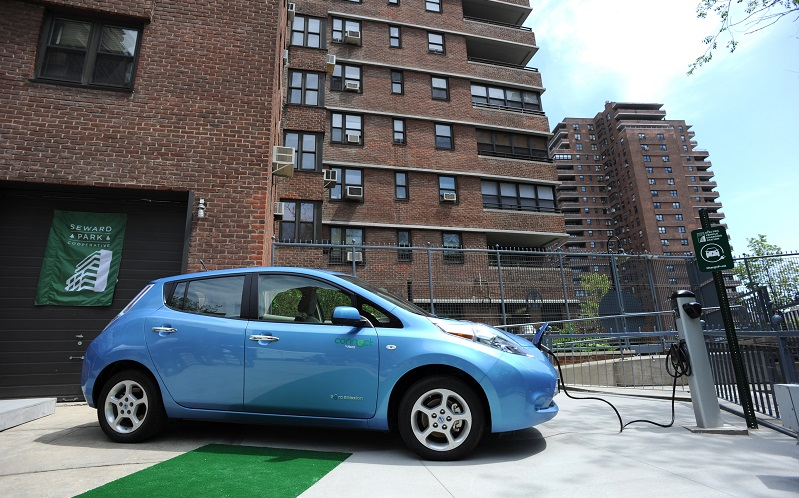 Nissan Leaf charging on New York's Lower East Side