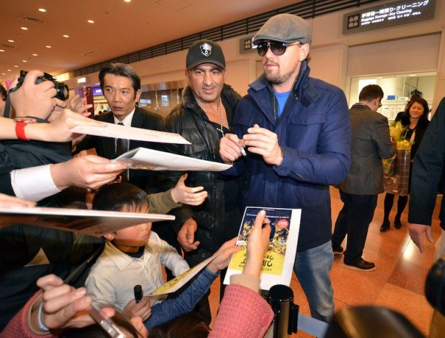 Leonardo DiCaprio arrives at the Tokyo International Airport