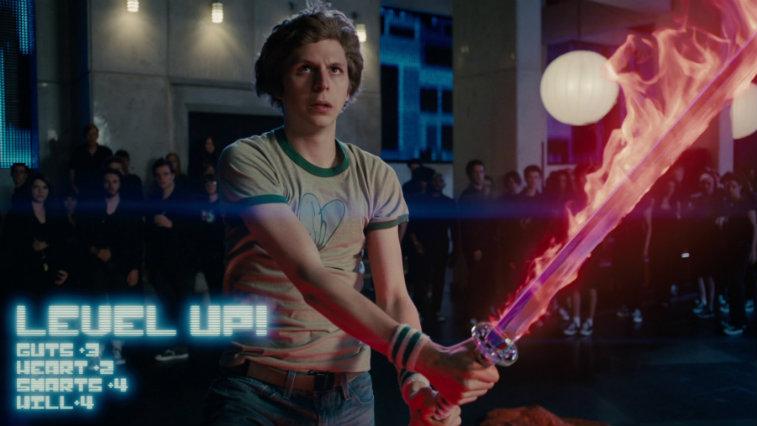 Michael Cera holds a flaming red sword in Scott Pilgrim vs. the World