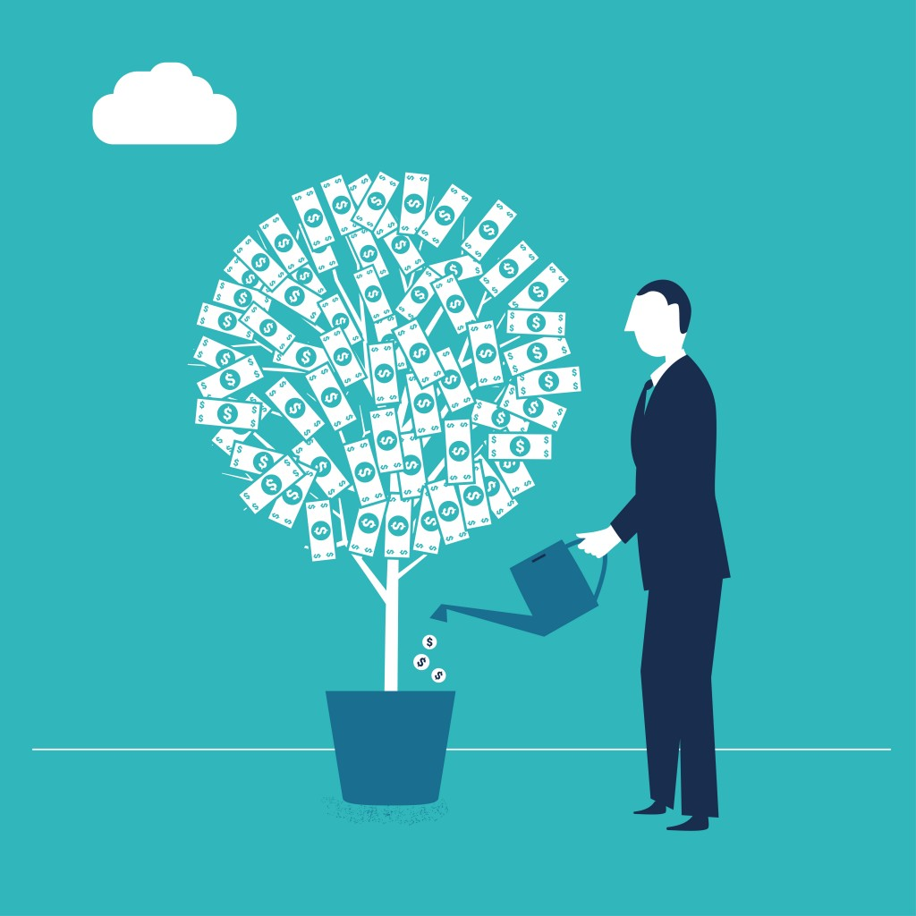 A man waters his money tree