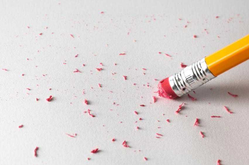 Pencil erasing on a paper
