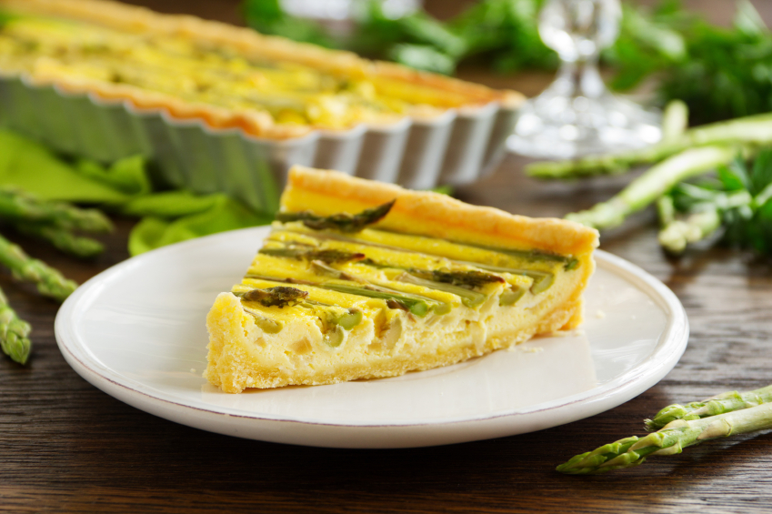 asparagus pie in a white plate