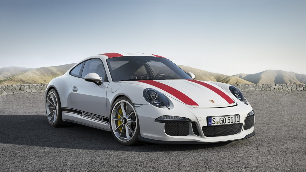 2017 Porsche 911 R in white with red racing stripes