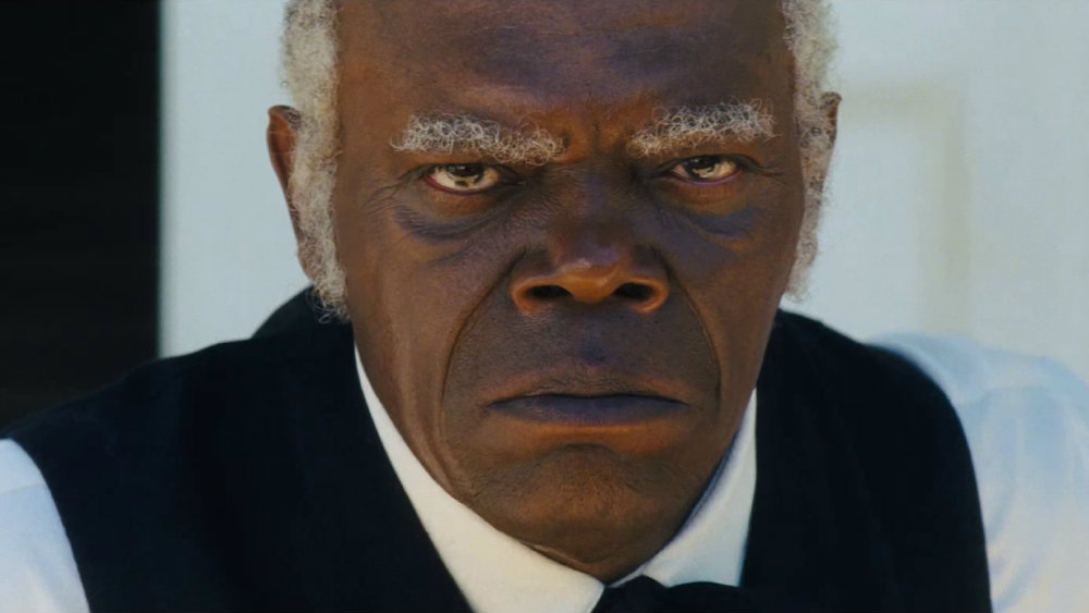 A close-up on a frowning Samuel L. Jackson in Django Unchained