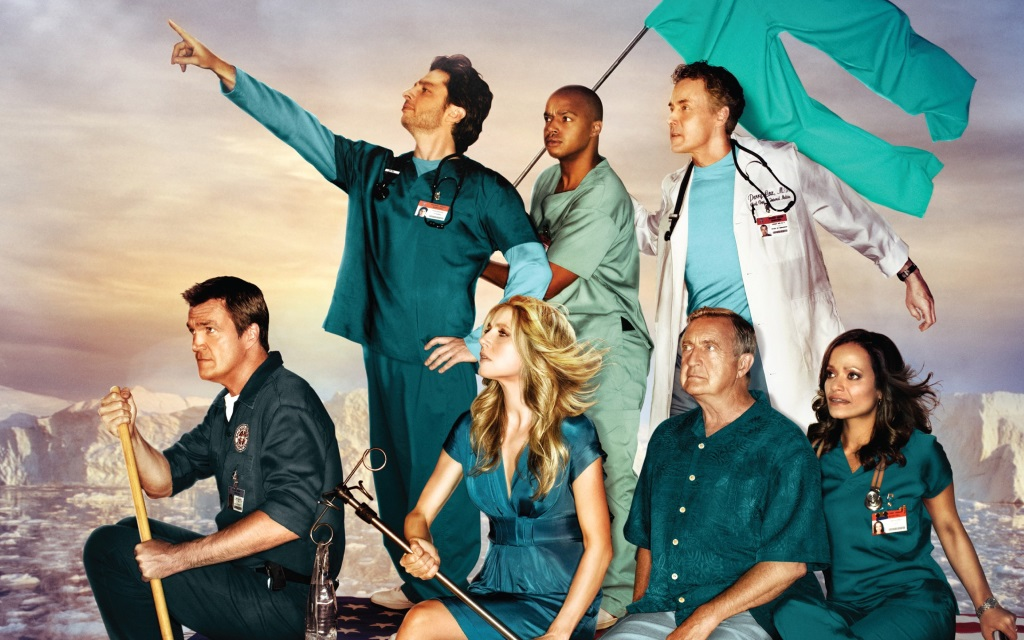The cast of Scrubs on a poster for the show depicting them on a raft in the ocean