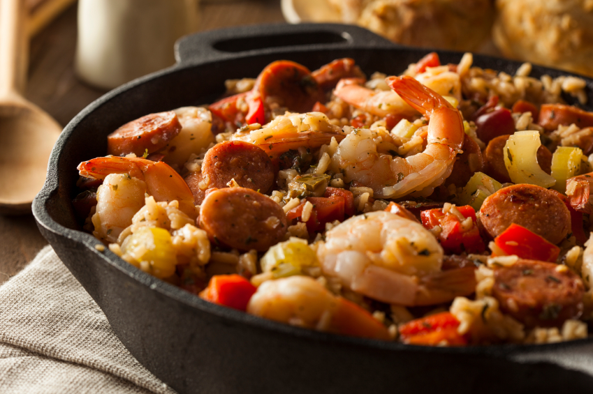 Pan of jambalaya