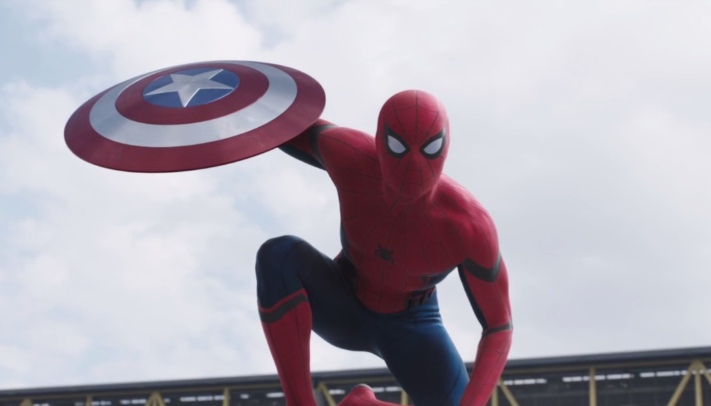 Spider-Man holds Captain America's shield in Civil War