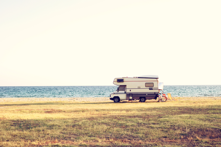 RV camper on a beach