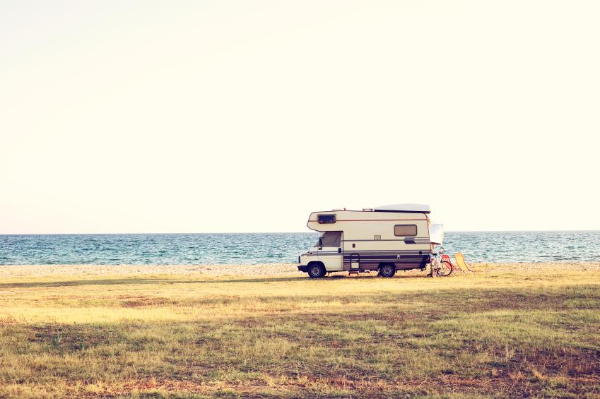 RV camper on a beach