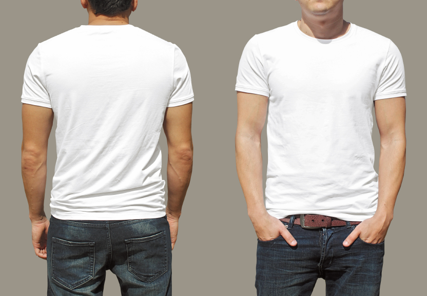 man showing back and front of white T-shirt