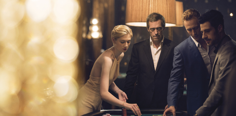 Tom Hiddleston as Jonathan Pine; Hugh Laurie as Richard Onslow Roper; Elizabeth Debick as Jed Marshall - The Night Manager _ Season 1, Episode 6 - Photo Credit: Des Willie /The Ink Factory/AMC