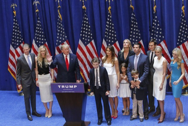 Trump's family at his campaign announcement