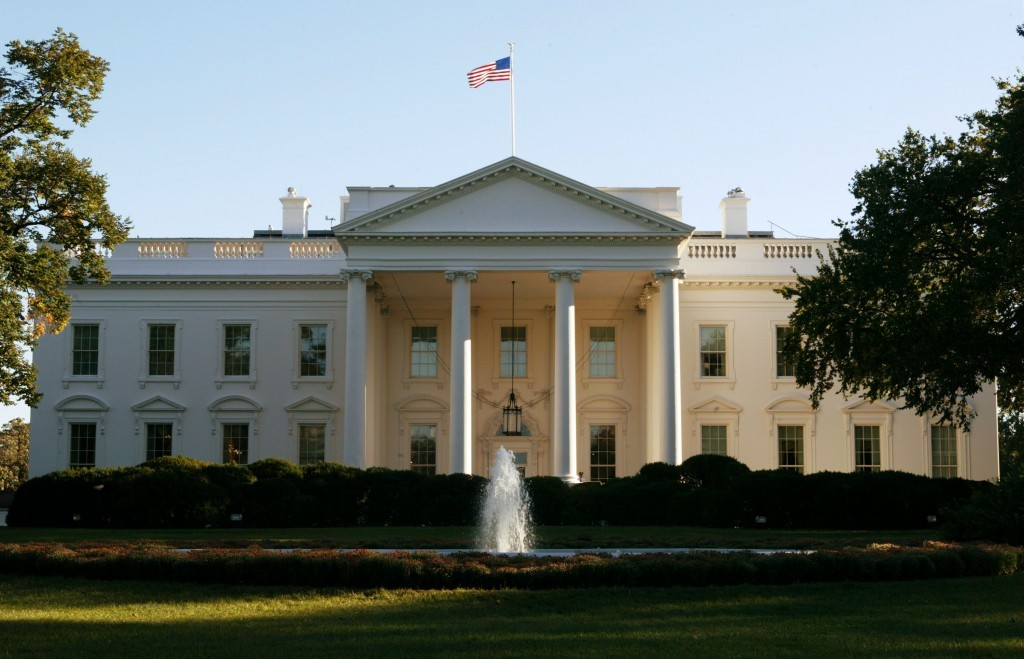 The front of the white house