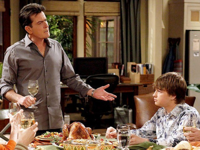 Charlie Sheen in a scene from CBS's sitcom 'Two and a Half Men'