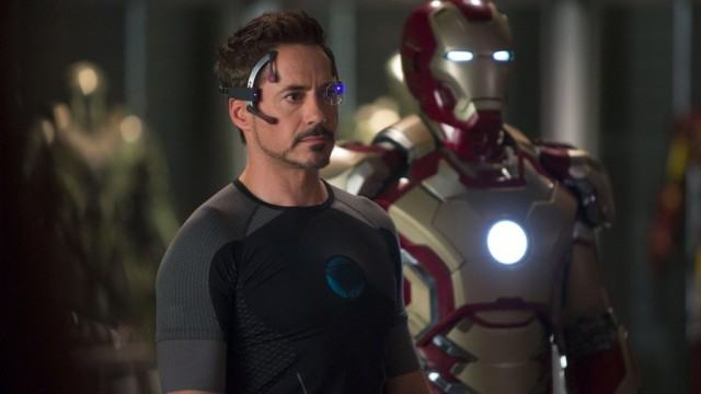 Robert Downey Jr. plays Tony Stark in a scene from the movie 'Iron Man'