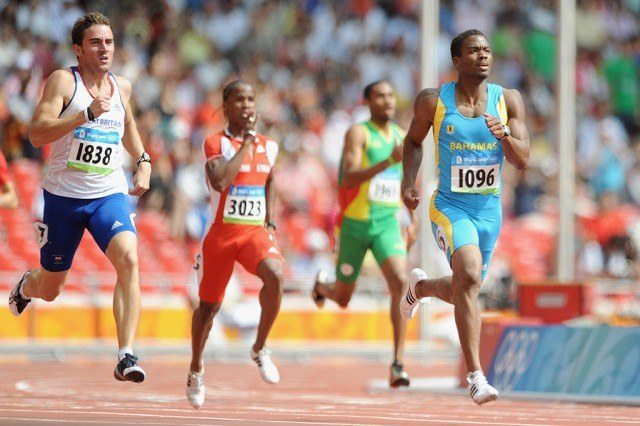 Andrew Steele running an early round of the 400 meters at the 2008 Olympics