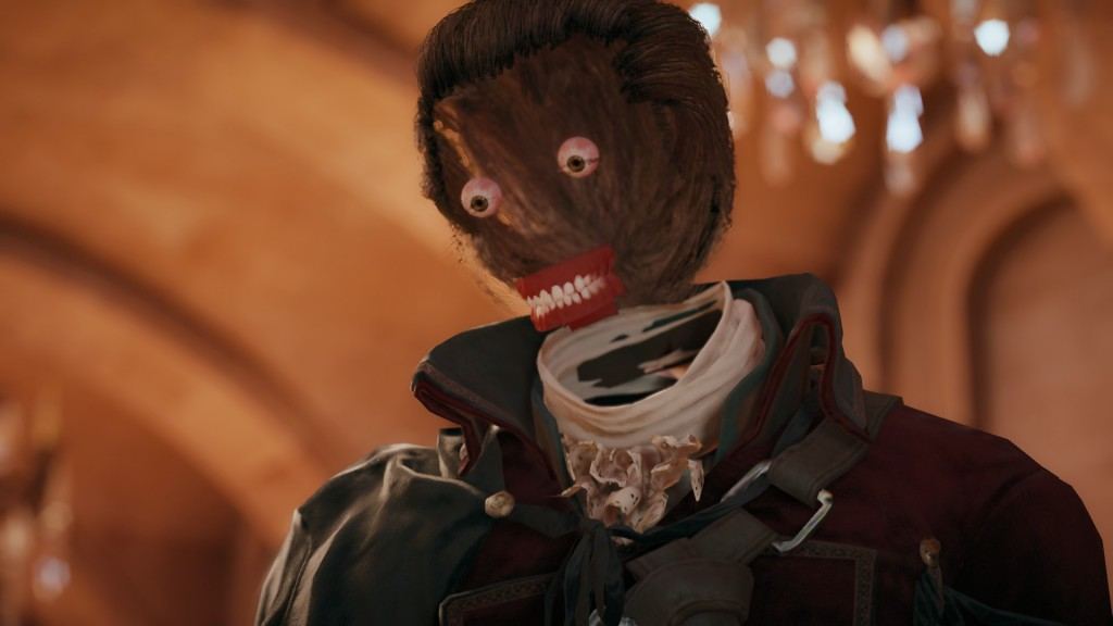 A glitch in Assassin's Creed Unity removes a character's face