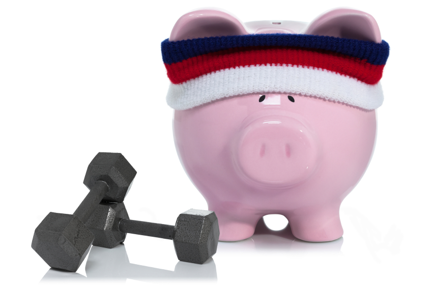 a piggy bank doing money exercises