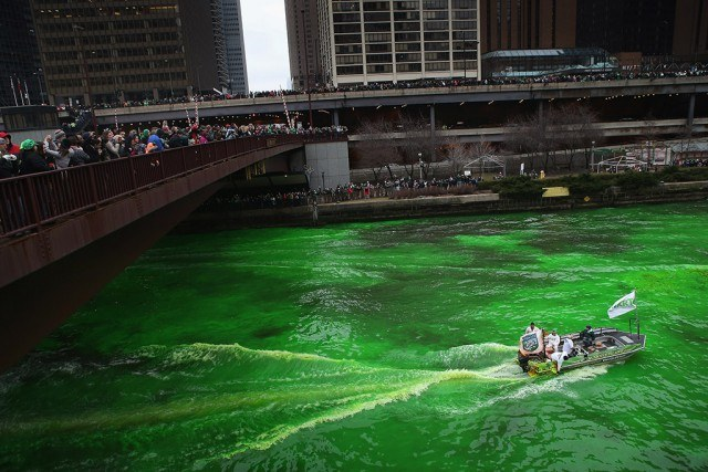 City of Chicago dying the river green on St. Patrick's Day