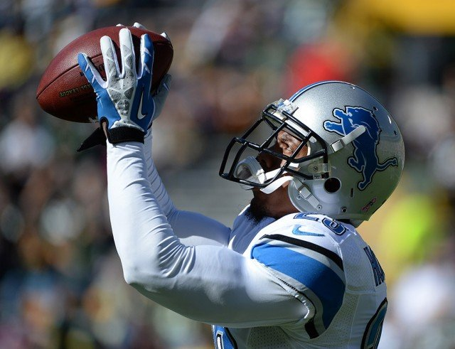 Chris Houston warming up before a game when he played for the Detroit Lions