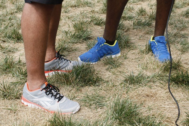 Jose Bautista and David ortez wearing Reebok shoes at a CrossFit competition