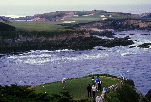 golfers teeing off at Cypress Point Golf Club in California