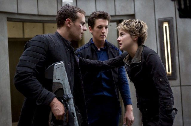 Four (Theo James), Peter (Miles Teller) and Tris (Shailene Woodley) have a tense moment during 'Divergent: Allegiant'