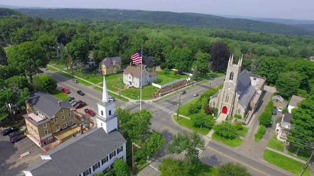 An aerial shot of Newtown, Connecticut from the documentary 'Newtown'