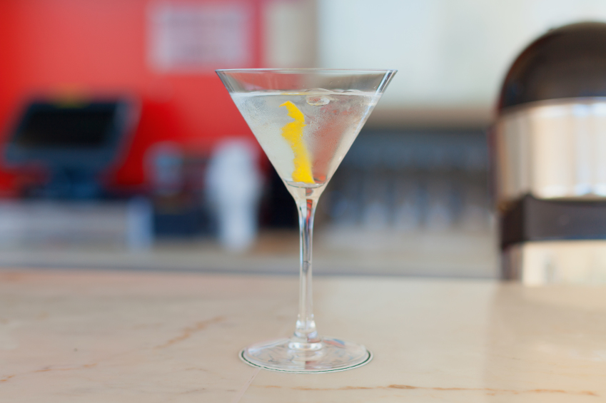 dry martini cocktail on a table