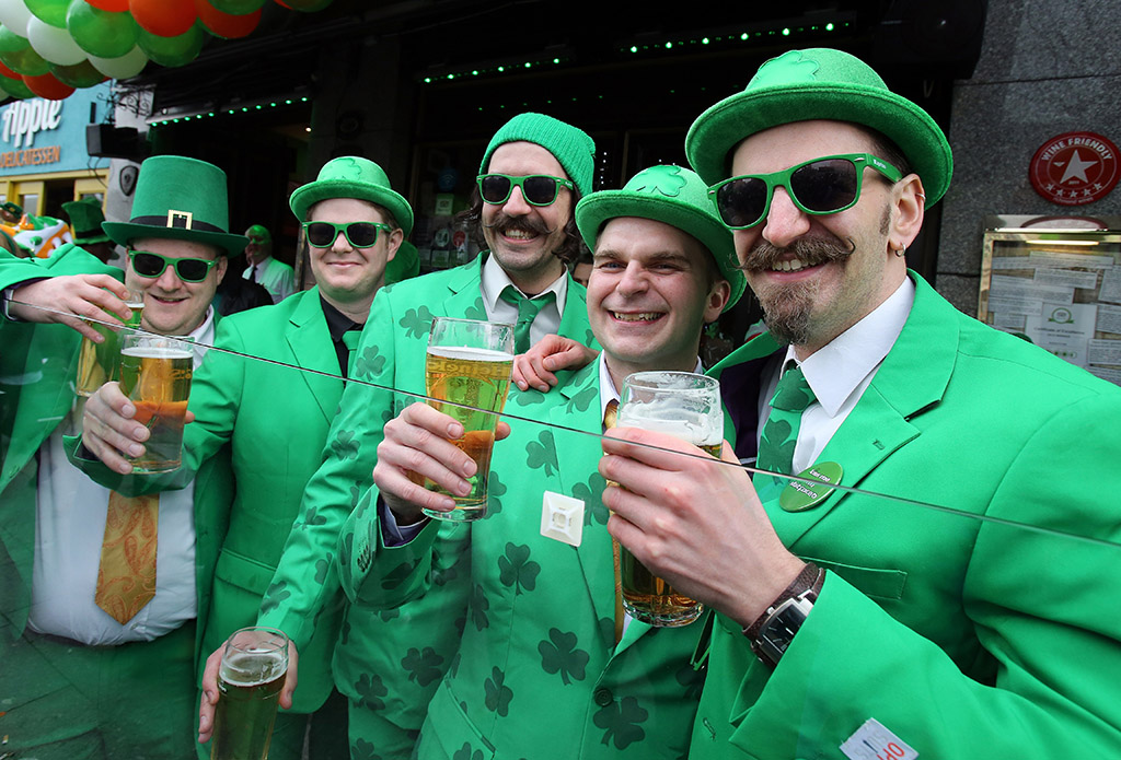 Irish men in green garb