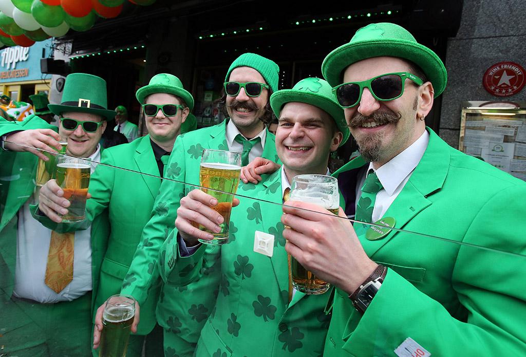 A group of Irish men celebrate St. Patrick's Day in Dublin.