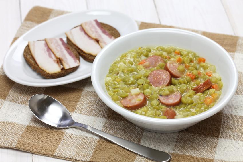 pea soup in a white bowl