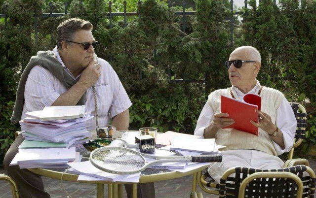 John Chambers (John Goodman) and Lester Siegel (Alan Arkin) read through scripts during a scene in 'Argo'
