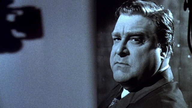 Woolsey (John Goodman) stares directly into the camera while promoting one of his films in 'Matinee'