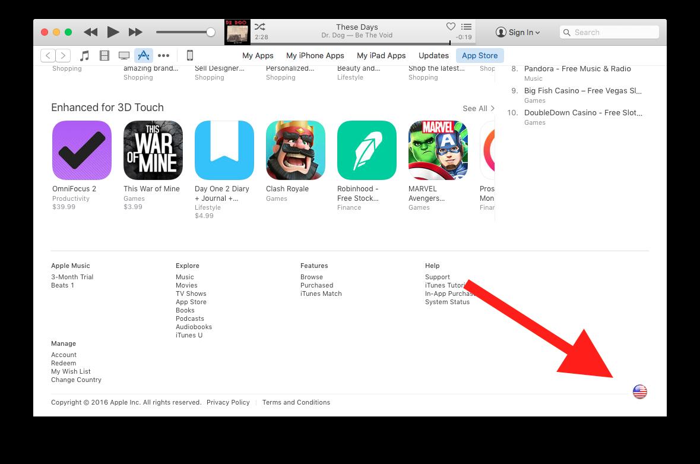 iTunes region selecction.