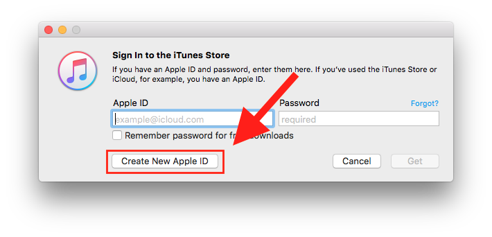 iTunes dialog box to sign in or create a new Apple ID.