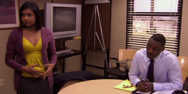 Mindy Kaling and Idris Elba in a scene from 'The Office'
