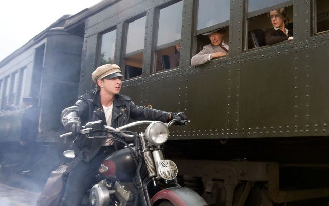 Mutt (Shia LeBeouf) races to catch up with a train in a scene from 'Indiana Jones and the Kingdom of the Crystal Skull'