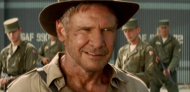 Indiana Jones looks pleased during a scene from 'Indiana Jones and the Kingdom of the Crystal Skull'
