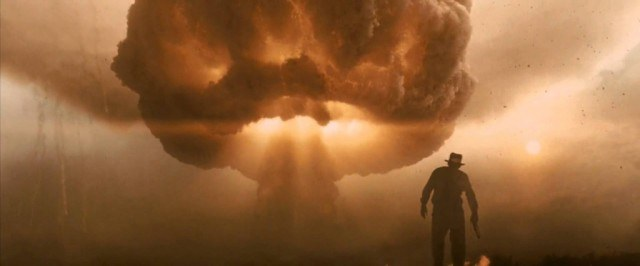 Indiana Jones (Harrison Ford) watches an atomic blast shortly in a scene from 'The Kingdom of the Crystal Skull'