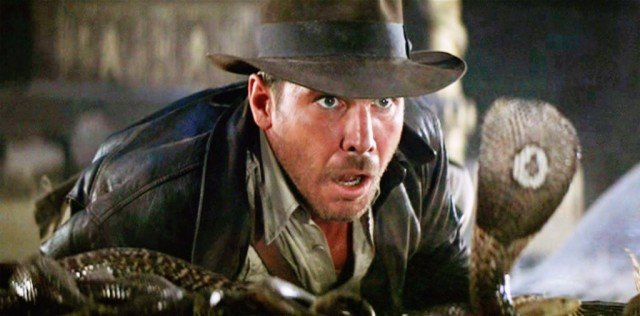 Indy (Harrison Ford) faces off with his nemesis - a snake - in a scene from 'Indiana Jones and the Raiders of the Lost Ark'