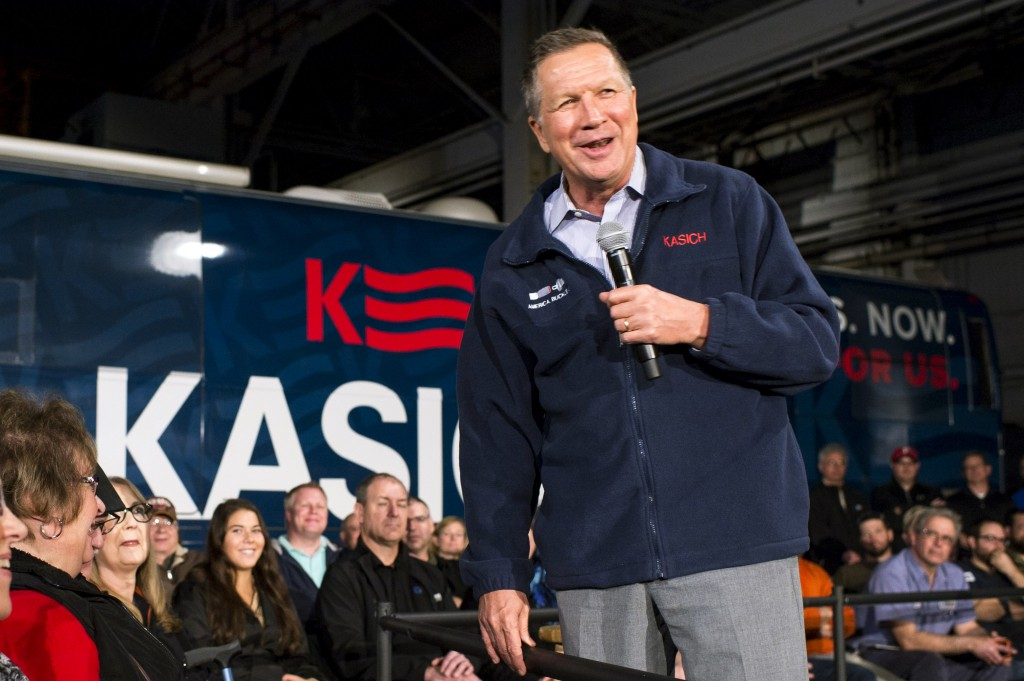 presidential candidate john kasich at campaign rally in ohio