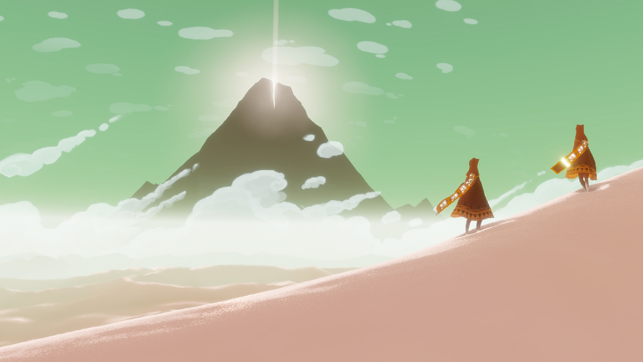 Two cloaked figures walk through a desert toward a mountain.