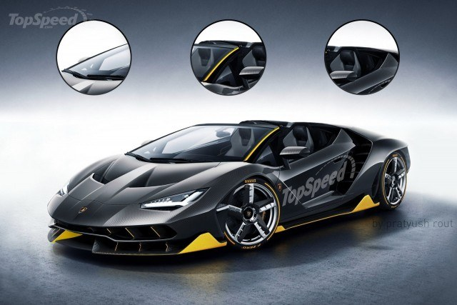 An artist's rendering of a Centenario Roadster