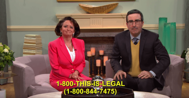 Rachel Dratch and John Oliver promoting Our Lady of Perpetual Exemption on 'Last Week Tonight'