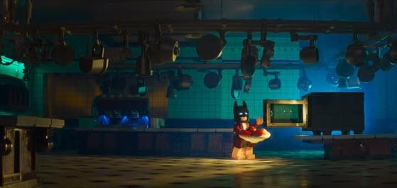 Batman (Will Arnett) heats up his dinner.